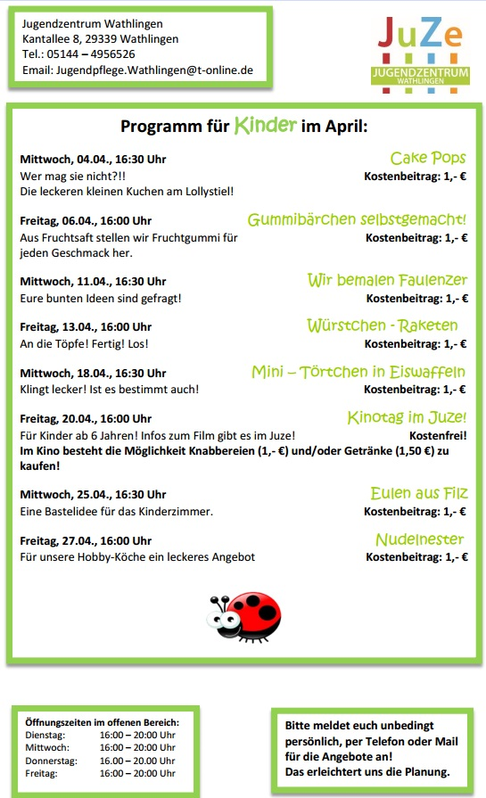 Juzi Programm April 2018